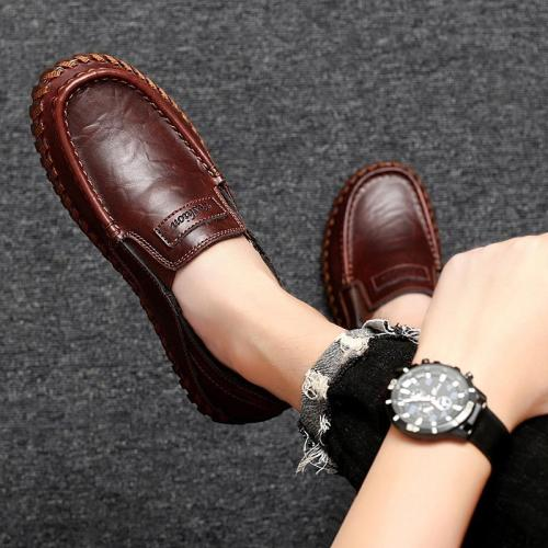 Men Genuine Leather Shoes Slip on Black Shoes Real Leather Loafers Man Italian Designer Shoes Big Size