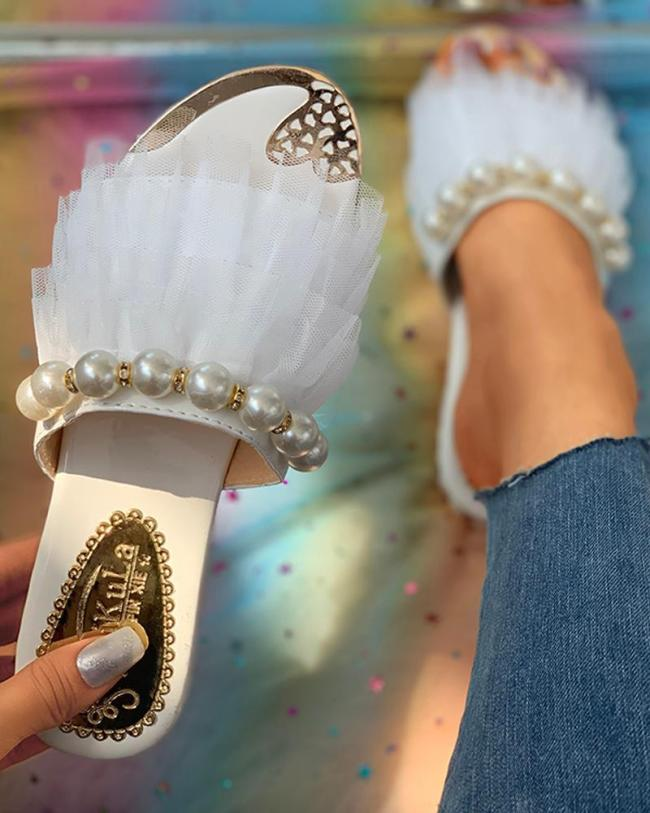 Summer Luxury Women Slippers String Beads Open Toe Slides Sandals Outdoor Female Ladies Shoes