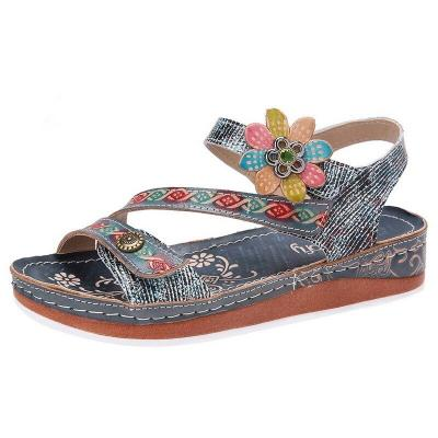 Women Sandals Heeled Slippers Flower Summer Shoes Casual Beach Shoes