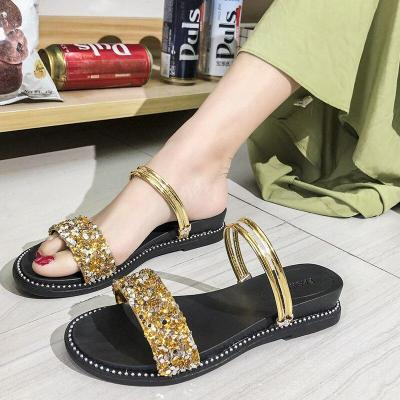 Fashion Sequins Square Heels Sandals Women Summer Open Toe Silver Gold Slippers Woman Casual