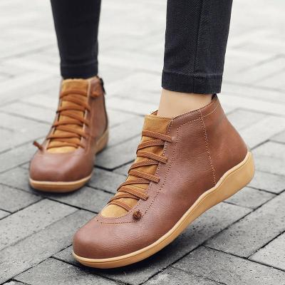 Spring Autumn Ankle Boots for Women Fashion Casual Womens PU Leather Shoes Ladies Boot Big Size