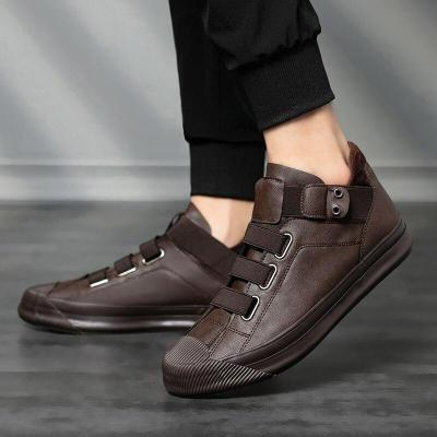 New Men's Hight-Top Pu Leather Shoes Breathable Elastic Band Style Wild Loafer Shoes Male Thick Bottom Rubber Boot