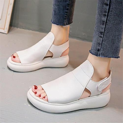 Peep Toe Woman Sandals Female Wedges Ladies Flats Platforn Women Fashion Solid Shoes