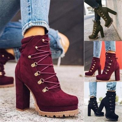 Women High Heels Ankle Boots Cross Straps Fashion High Heels Casual Elegant Solid Round Toe Boots