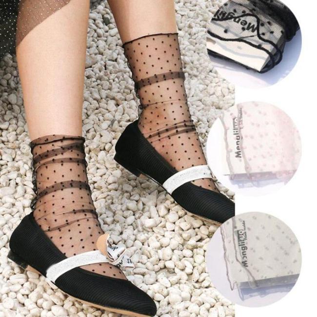 Summer Cool Dot Tulle Socks Women Breathable Transparent Ultra-thin Socks Female Mesh Small Polka Dots Socks