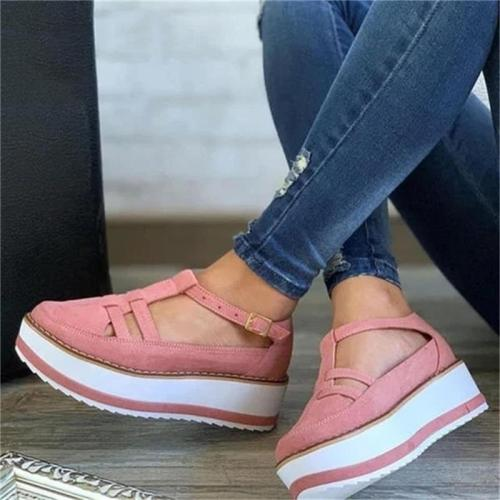 Women's Platform Sneakers Round Toe Flat Shoes Casual Daily Comfy Buckle Strap Dress Party Cute Female