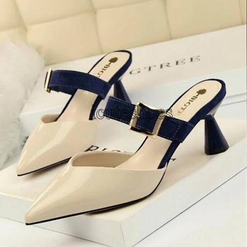 Women's Sandals Belt Buckle Slipper Women High Heels Leather Shallow Shoes Sexy