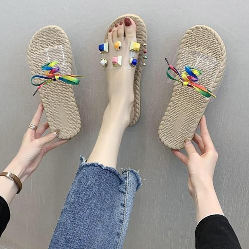 New Transparent Sandals Women's Summer Fashion Wear Beach Shoes Flat