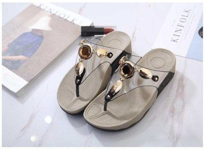 Female Slippers Flat Wedge Beach Shoes Comfortable Woman Flip Flops Sandals