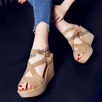 Women Fish Mouth Non-slip Platform Slope High Heels Sandals Buckle Strap Sandals Outdoor Style For Women