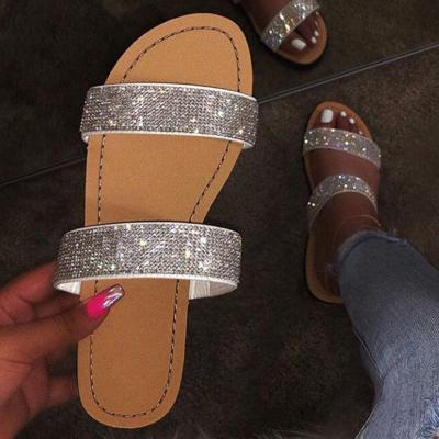 Flat With Rhinestone Flip Flop Slip-On Rubber Summer Slippers