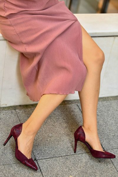 Burgundy Snake Stiletto Slip-on Pointed Toe Green Purple High Heels Sexy Women Dress Shoe