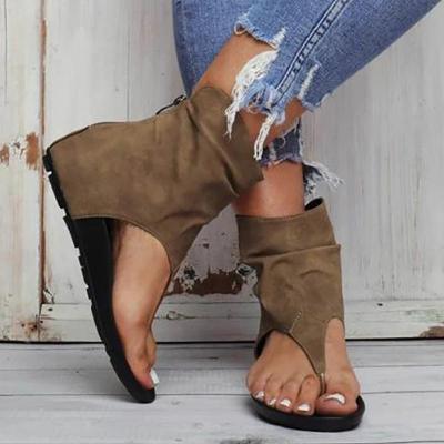 Summer Female Zipper Casual Woman Sandal Ladies Sandals Clip Toe Flat Women Platform PU leather Gladiator Shoes