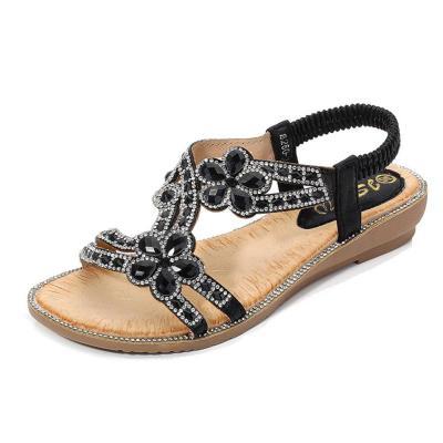 Summer Women Sandals Flats Open Toe Sandals Black Silver  Beach Flat Shoes Women Fashion
