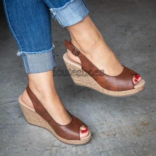 Fashion Sandals Summer New Hot Female Mouth Exposed Toe Wedges Sandals
