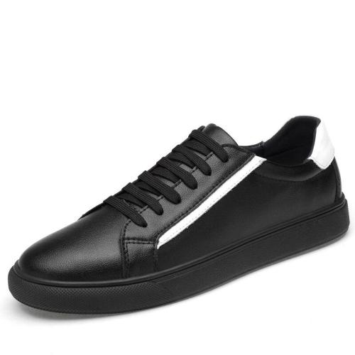 Man Leather Sneakers White Black Men's Shoes Casual Walking Footwear Fashion Male Leisure Shoe