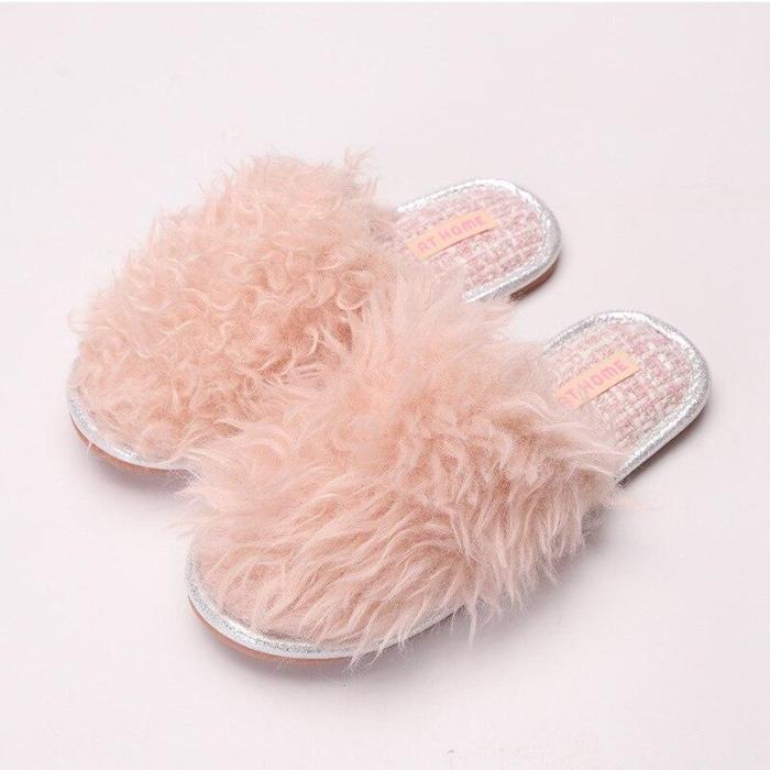 Faux Fur Women Indoor Fashion Style Autumn Winter Shoes Woman Home Slides Anti-slip Female Floor Slipper