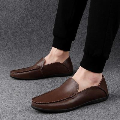 Casual Shoes Genuine Leather Loafers Men Breathable Slip on Italian Boat Shoes Plus Size