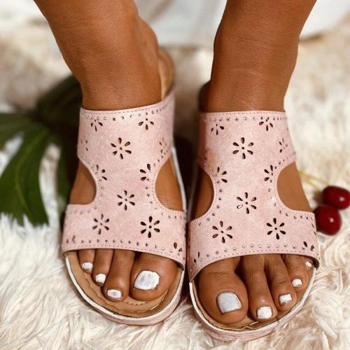 Women Vintage Slippers Summer Leisure Flat Heel Hollowed Out Elastic Solid Colors Plus Size Ladies Shoes Slipper Slides