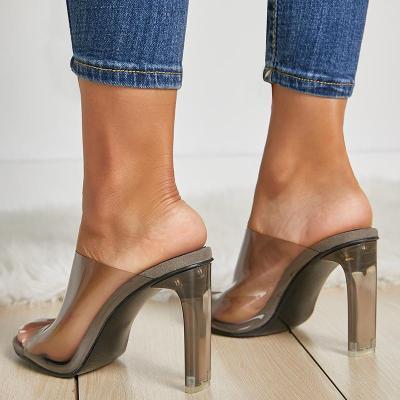 Summer Women High Heels Clear Block Heels Slides Female Transparent Peep Toe Slippers