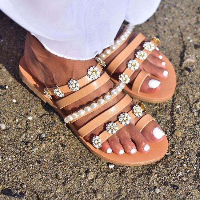 Flat With Appliques Flip Flop Slip-On Slippers