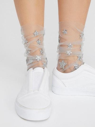 Chic Women's Glitter Stars Socks Ladies Transparent Mesh Gold Sliver Shiny Stars Fishnet Socks Hosiery Sox