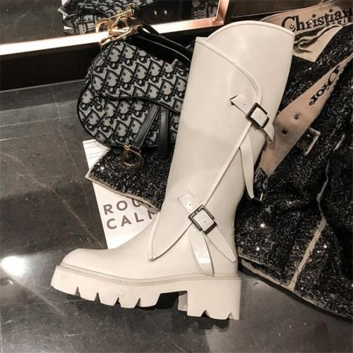 Women Long Boots Knee High White Cowhide Genuine Leather Platform Riding Nightclub Dancing Metal Buckle