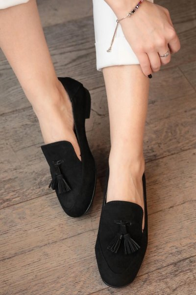 Grey Black Navy Blue Tassels Loafers Black Suede Loafers Comfort Oxford Shoes for Women Shoes Women Loafers