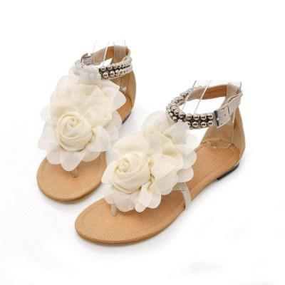 Summer 2020 New Woman's Flower Flat Sandals Summer Open Toe Fashion Outdoor Beach Shoes Comfortable Plus Size 43