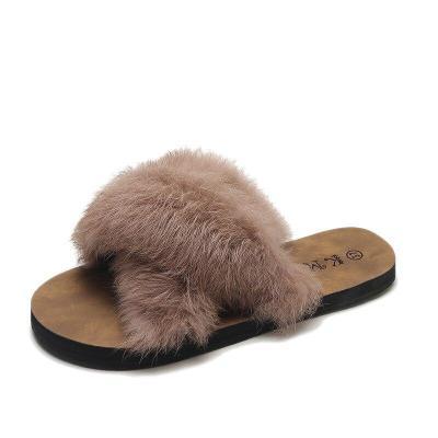 Women Furry Slippers Ladies Cute Fox Hair Fluffy Sandals Women's Fur Slippers Warm Slippers for Women