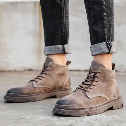 Autumn New Ankle Boots Men's Outdoor Split Leather Fashion Boots British Hight-Top Breathable Round Toe Stitching Boots