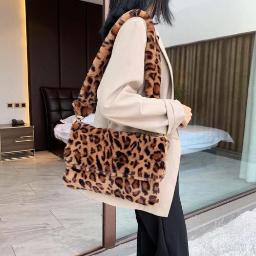 Winter Soft Faux Fur Crossbody Bags for Women Single Shoulder Bag Simple Female Leopard Plush Woman Bags