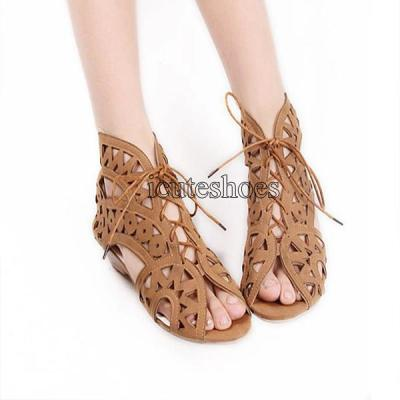 Bohemian Summer Shoes Lace Up Gladiator Sandals Low Heels Wedges Open Toe Women