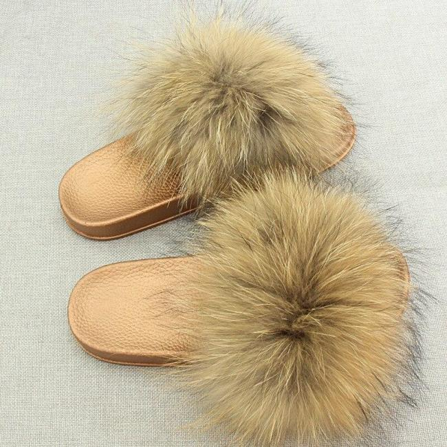 Open Toe Real Slippers Summer Slip On Furry Shoes