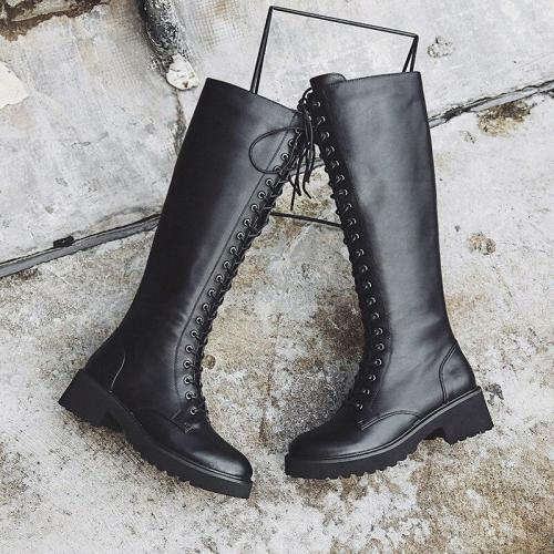 Large Size Lace Up Knee High Boots Women Genuine Leather Fashion Square Heel