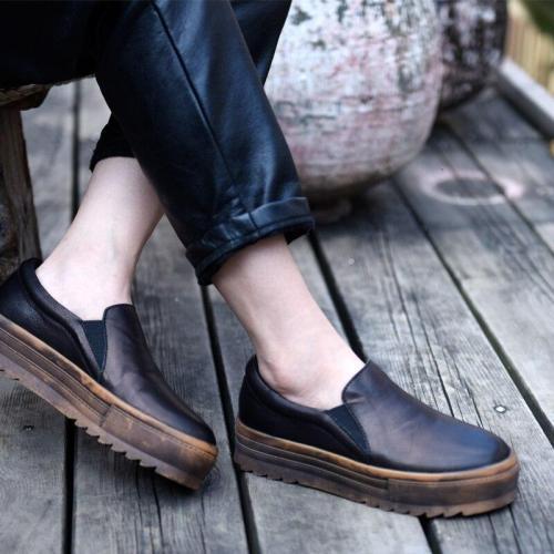 Vintage Flat Platform Loafers Shoes Fashion Handmade Genuine Leather Black Women Flats Four Seasons Shoes