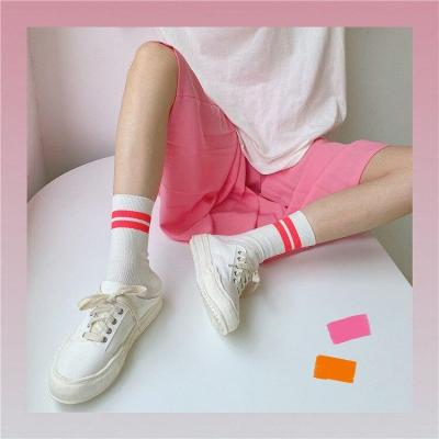 New Street Fashion Hip Hop Socks Summer Cool Girls Bright Yellow Pink Neon Color Crew Socks Casual Womens Striped Short Sox