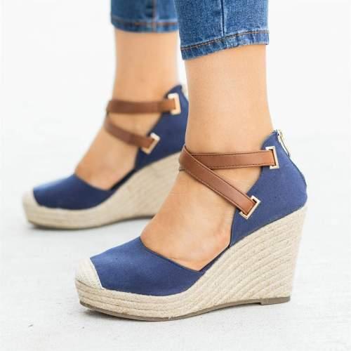 Summer Crossed Elastic Bands Wedges Sandals Pointed Toe High Heel Sandals Platform Ladies Casual Shoes