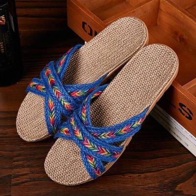 Women Indoor Slippers Home Flax Slides Summer Flat Shoes House Floor Slippers Breathable