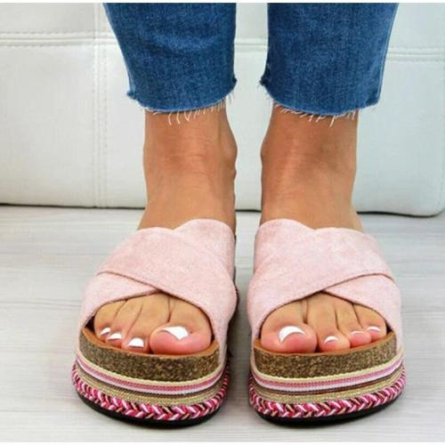 Women Summer Platform Slippers Ladies Causal Slides Cross Strap Woman Flat Soft PU Leather Female Shoes