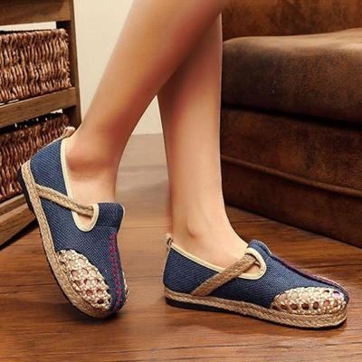 Women National Linen Hit Color Slip On Flat Heel Espadrille Loafers