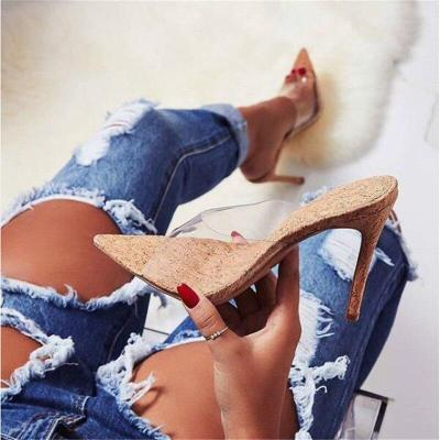 Women's Shoes Pointed Peep Toe High shoes Transparent PVC heeled Shoes Ladies Party Thin Heels slippers Women Pumps