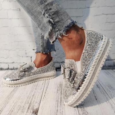 2020 Women Vulcanize Shoes Sneakers Bling Shoes Girl Flat Glitter Casual Breathable Lace Up Sport Shoes