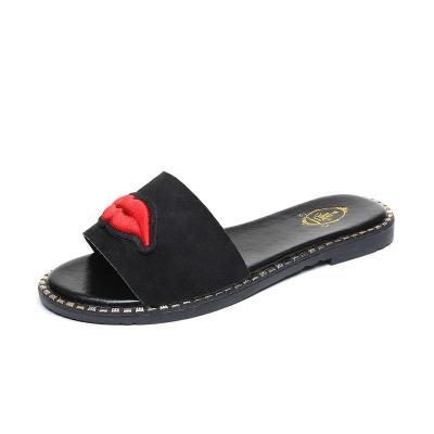 Slippers Women's New Summer Suede Flat Sandals Women's Casual Wear Beach Shoes