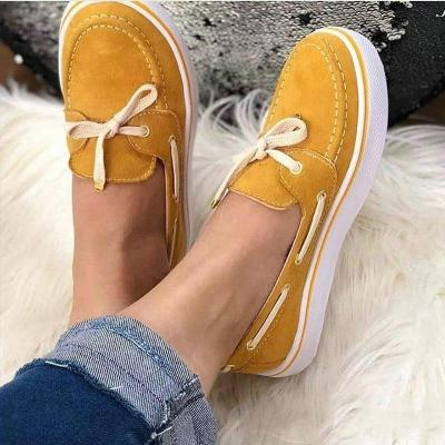 Women Shallow Platform Flat Shoes Ladies Slip On Sewing Lace Up Casual Soft Comfort Female Loafers