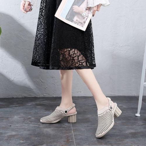 Summer Chunky Heels Sandals Women Genuine Leather Shoes
