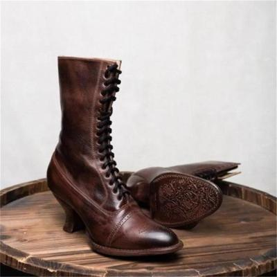 Women Boots Retro Shoes Female Shoes Pointed Toe Leather Shoes Heel