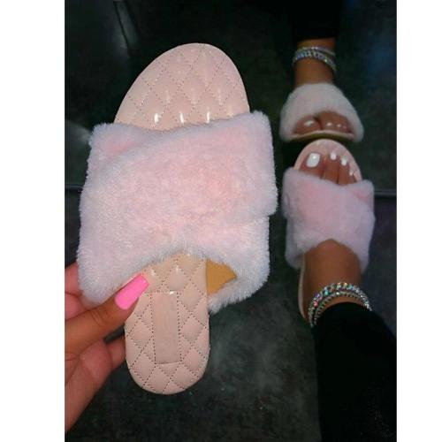 New Slippers Flat Sandals Open Toe Solid Color Plush Outdoor Women's Shoes Beach Comfortable