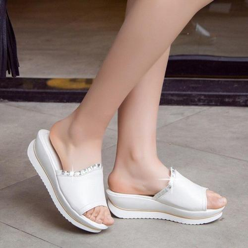 Women Wedges Slippers Platform Ladies Slides Summer Sandals Crystal Beach Shoes