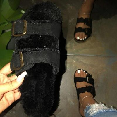 Slippers Leopard Shoes Flat Heels Platform Fur Sole Beach Ladies Slides Party Sandals